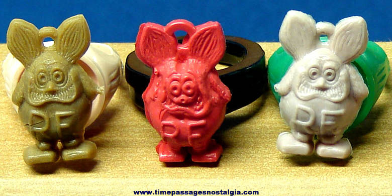 (3) 1960s Rat Fink Character Gum Ball Machine Prize Toy Rings