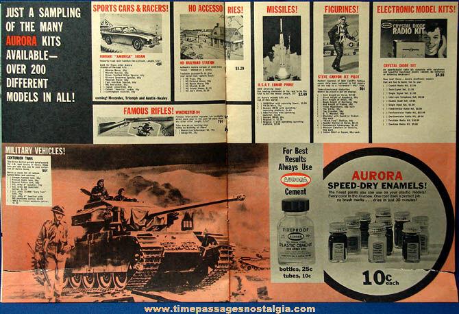 (2) Colorful 1959 Aurora Model Kit Advertising Magazine Supplement Inserts