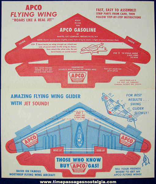 (2) Old Unused Apco Gas Station Advertising Premium Flying Wing Glider Airplane Models