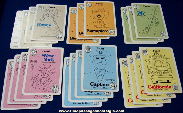 (22) Colorful Old Children's Airplane Activity Cards