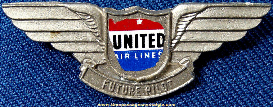 Old Children's Metal United Airlines Advertising Future Pilot Wings Pin
