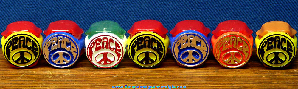 (7) Colorful Old Unused Gum Ball Machine Prize Toy Peace Rings