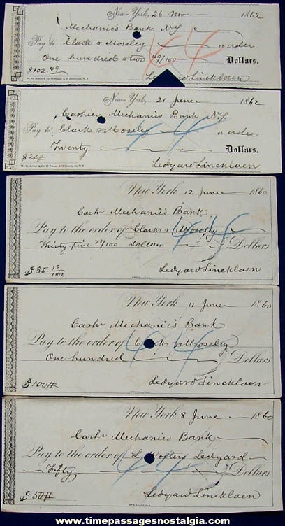 (5) Historic 1860 - 1862 New York Mechanics Bank Checks