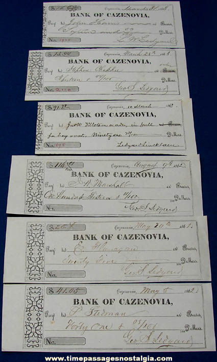 (6) Historic 1862 - 1863 Cazenovia New York Bank Checks