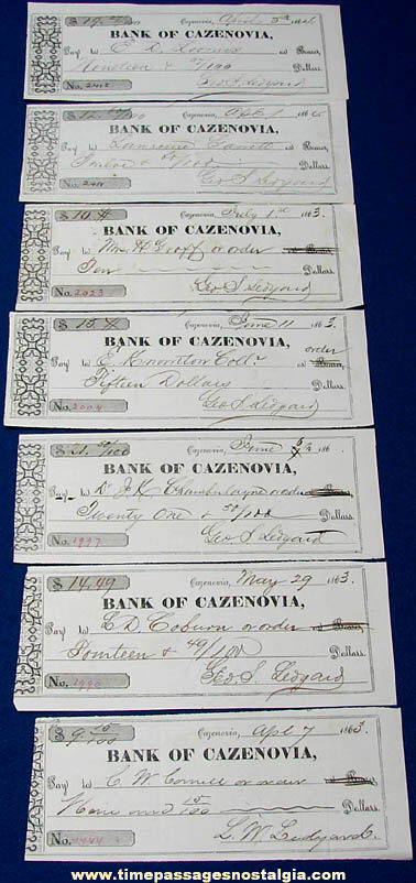 (7) Historic 1863 - 1864 Cazenovia New York Bank Checks