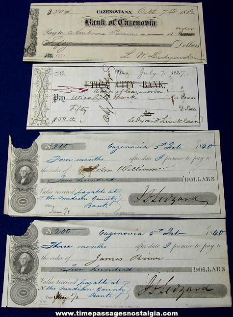 (4) Historic 1840 - 1862 Cazenovia New York Bank Checks