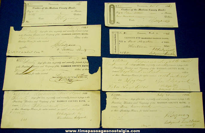 (8) Historic 1840 - 1847 Cazenovia New York Bank Checks