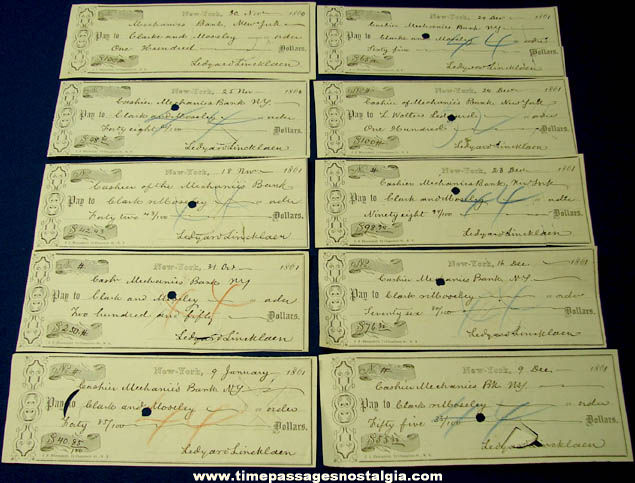 (10) Historic 1860 - 1861 New York Mechanics Bank Checks
