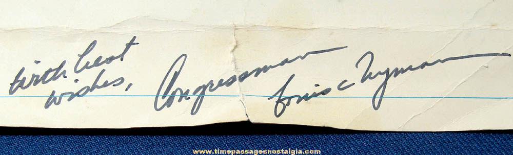 Congressman Louis Wyman Autographed 1974 U.S. House of Representatives Calendar