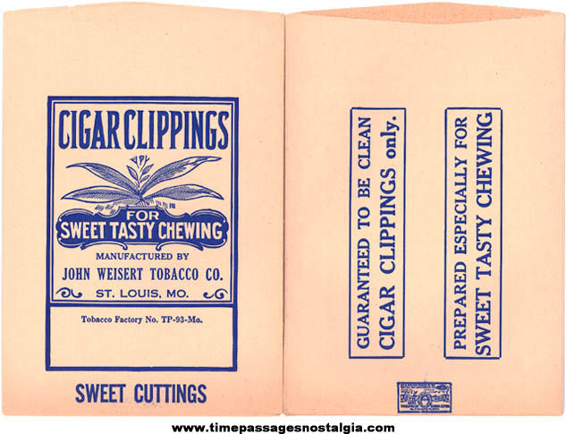 (2) Old Unused John Weisert Tobacco Company Cigar Clipping Paper Bags