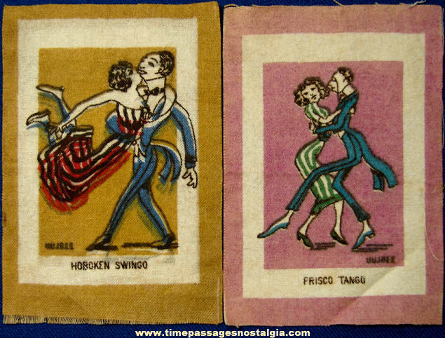 (2) Different Old Tobacco Premium Miniature Cloth Rugs With Dancers