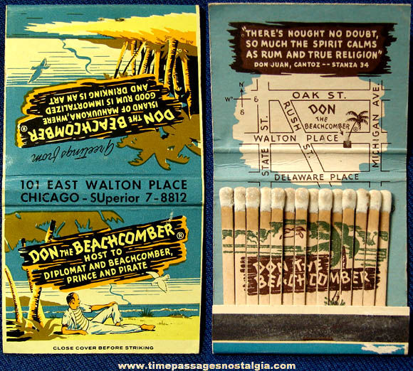 Old Don The Beachcomber Chicago Restaurant Advertising Match Book