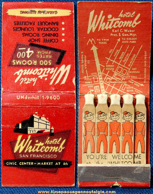 Old Hotel Whitcomb San Francisco California Advertising Match Book
