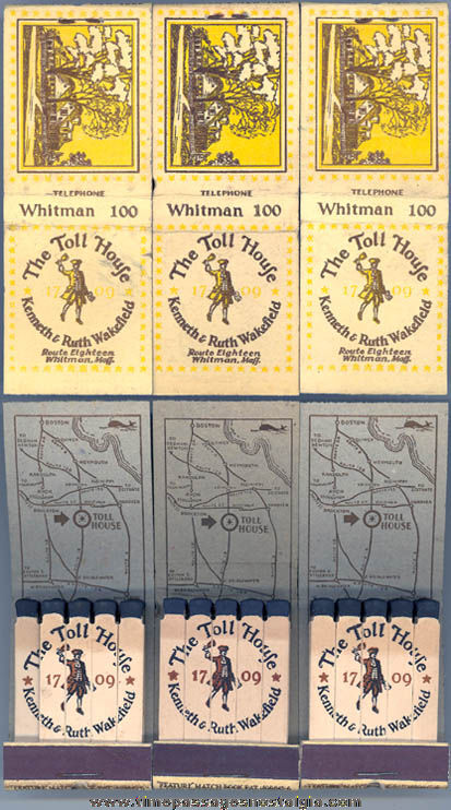 (3) Old Unused Toll House Inn Whitman Massachusetts Advertising Match Books