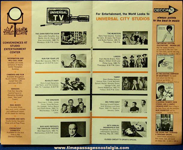 ©1965 Universal City Studios California Advertising Souvenir Tour Booklet
