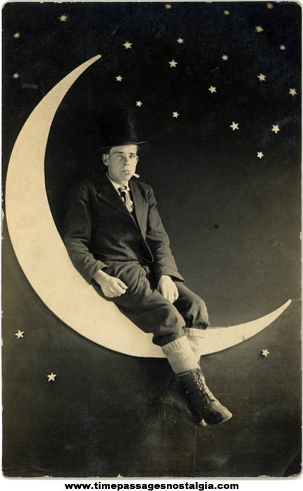 Old Unused Man In The Moon Souvenir Real Photo Post Card