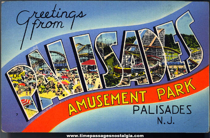 1943 Palisades Amusement Park Advertising New Jersey Post Card