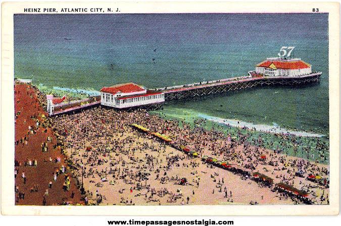 1935 Heinz Pier Advertising Atlantic City New Jersey Post Card