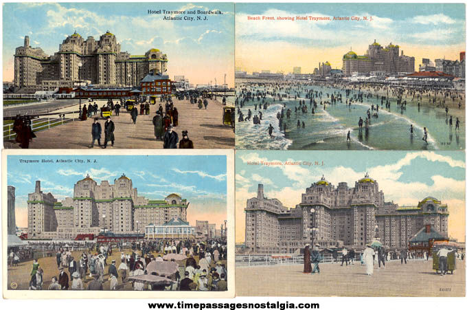 (4) Different Old Unused Atlantic City New Jersey Hotel Traymore Advertising Post Cards