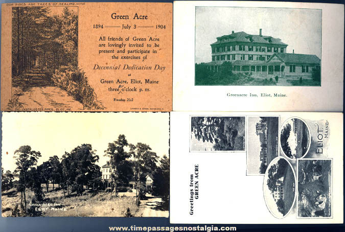 (4) Different Old Green Acre Eliot Maine Advertising Post Cards