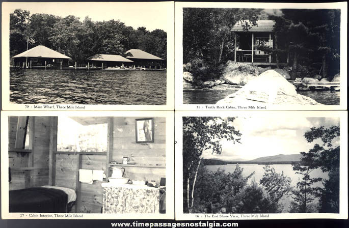 (4) Different Old Unused Three Mile Island Camp Meredith New Hampshire Real Photo Post Cards