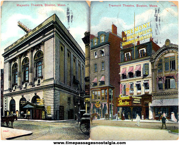 (2) Colorful 1908 Boston Massachusetts Historic Theatre Post Cards