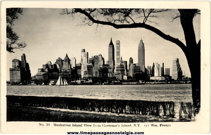 1944 New York City Skyline Real Photo Post Card