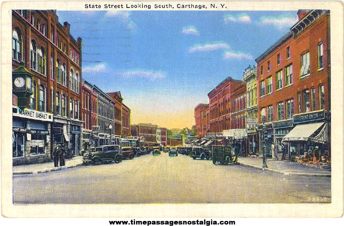 Colorful 1935 State Street Carthage New York Linen Post Card