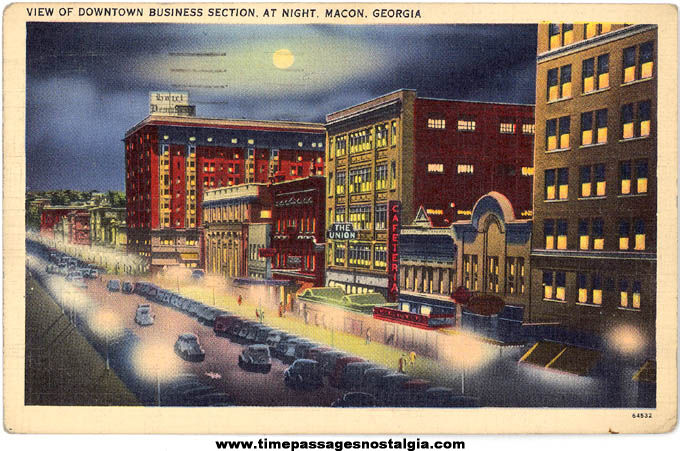Colorful 1941 Downtown Macon Georgia Linen Post Card
