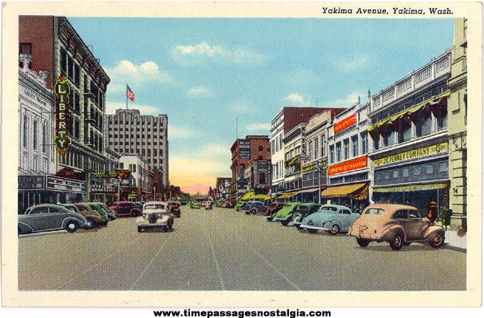 Colorful Old Unused Downtown Yakima Washington Linen Post Card