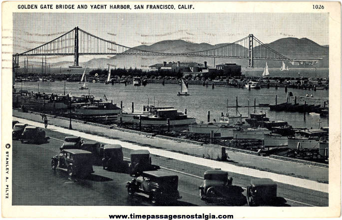 1941 Golden Gate Bridge & San Francisco California Yacht Harbor Post Card