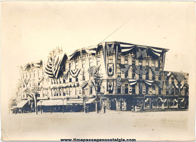 Old City Building Photograph With Patriotic Banners & Flags