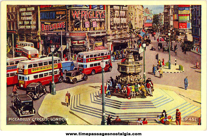 Colorful Old Unused Piccadilly Circus London England Advertising Post Card