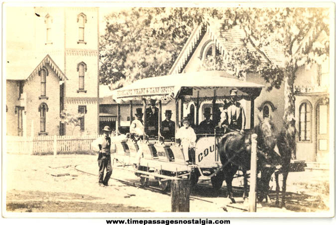Old Unused Martha's Vineyard Massachusetts Horse Drawn Street Car or Trolley Real Photo Post Card