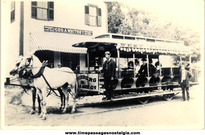 Old Unused Fitchburg Massachusetts Horse Drawn Street Car or Trolley Real Photo Post Card
