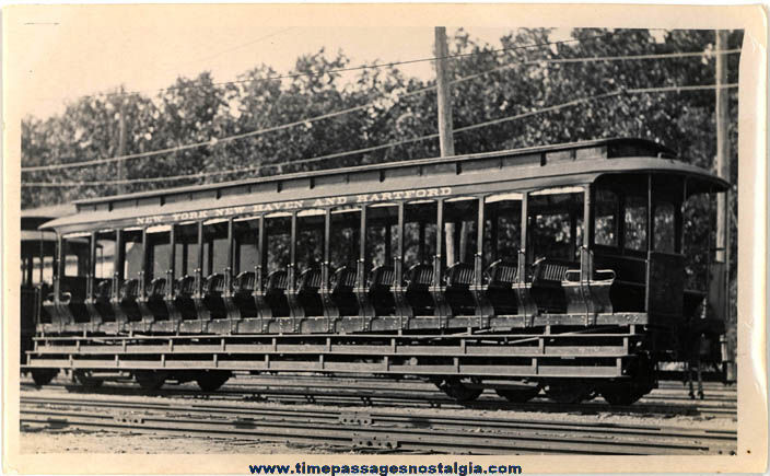Old New York New Haven & Hartford Open Air Street Car Photograph