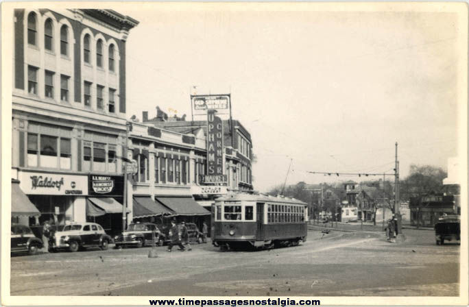 Old Dorchester Massachusetts Downtown & Electric Street Car Photograph