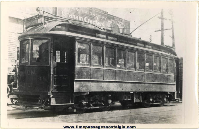 Old Boston & Worcester Massachusetts Electric Street Car #45 Photograph
