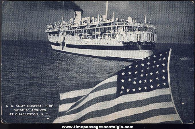 Old Unused United States Army Hospital Ship Acadia Post Card