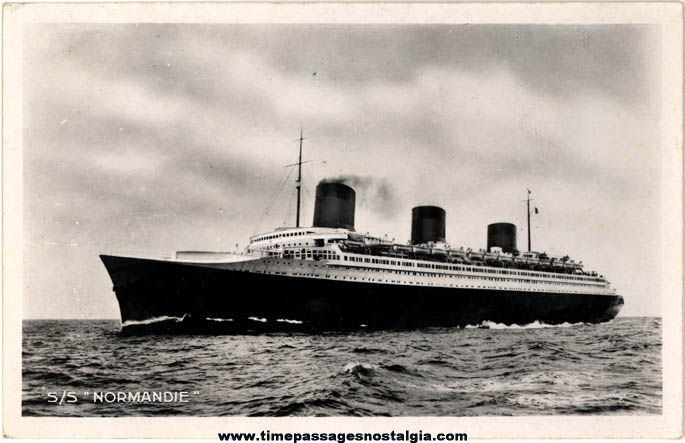 Old Unused S. S. Normandie French Line Ship Real Photo Post Card