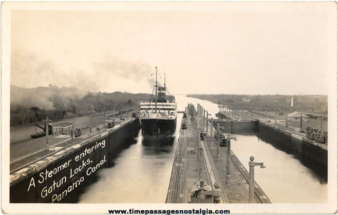 Old Unused Gatun Locks Panama Canal Ship Real Photo Post Card