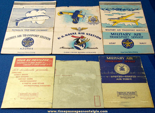 (3) Large Old Airplane & Military Advertising Match Book Covers