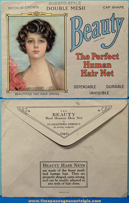 Old Unused Beauty Human Hair Net With Pretty Lady Advertising Envelope