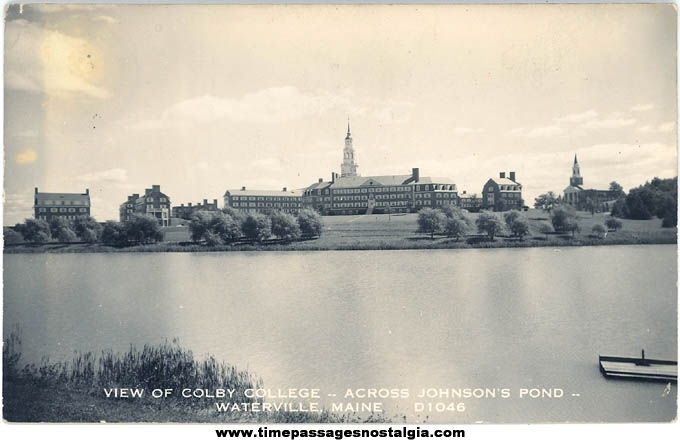 Old Unused Colby College Waterville Maine Real Photo Post Card