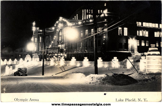 1940 Olympic Arena Lake Placid New York Real Photo Post Card