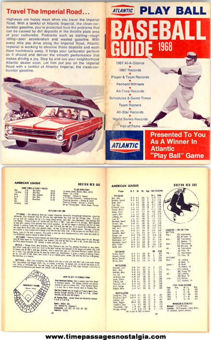 1968 Atlantic Gasoline Station Advertising Premium Baseball Guide Book