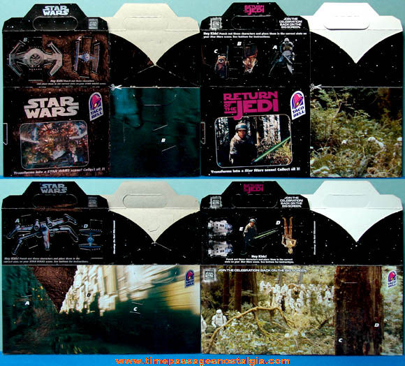 (2) Unused ©1996 Taco Bell Star Wars Advertising Meal Boxes