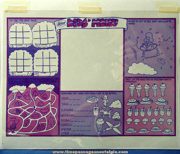 Colorful Old Perkins Restaurant Place Mat Game Production Art Color Separations