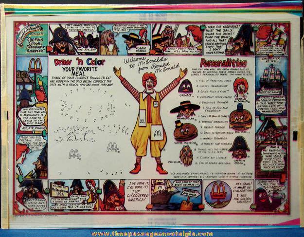 Colorful ©1977 McDonald's Restaurant Advertising Place Mat Production Art Color Separations