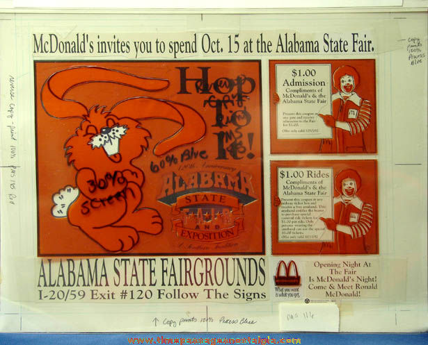 Colorful McDonald's Restaurant Alabama State Fair Advertising Place Mat Art & Color Separations